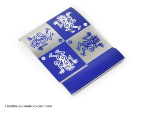 Libretita azul metálico con mono