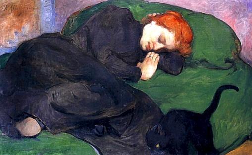 Mujer dormida con gato - pintura de Wladislaw Slewinski